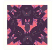 Bats Damask Wallpaper Art Print