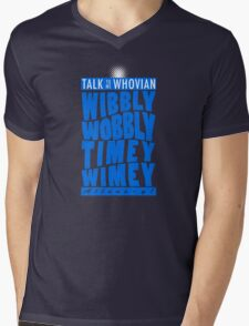 Talk Whovian To Me (version 2, light blue) Mens V-Neck T-Shirt