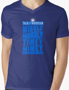 Talk Whovian To Me (version 2, light blue) Mens V-Neck T-Shirt