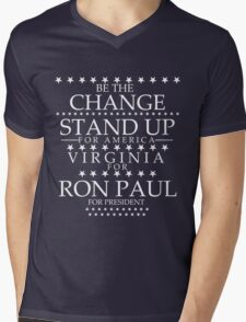 """""""Be The Change- Stand Up For America"""" Virginia for Ron Paul Mens V-Neck T-Shirt"""