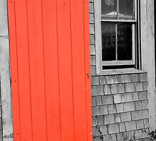 Orange Door And Weathered Clapboards by phil decocco
