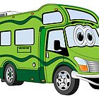 All Green Camper Cartoon by Graphxpro
