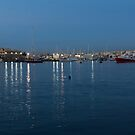 Mediterranean Blue Hour Magic - Valletta's Marsamxett Harbour Shimmering Lights by Georgia Mizuleva
