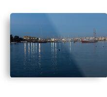 Mediterranean Blue Hour Magic - Valletta's Marsamxett Harbour Shimmering Lights Metal Print