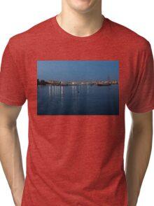 Mediterranean Blue Hour Magic - Valletta's Marsamxett Harbour Shimmering Lights Tri-blend T-Shirt