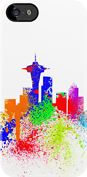 Seattle Skyline Graffiti II iPhone Case by Josh Marten