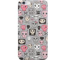 Skulls in Pink on Grey iPhone Case/Skin