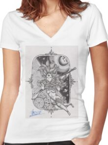 FLARE OF WISDOM Women's Fitted V-Neck T-Shirt