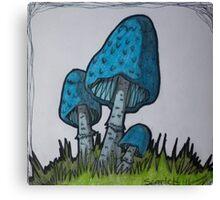 Blue Mushrooms Canvas Print