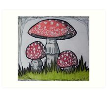 Red and White Spotted Mushroom Art Print