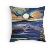 Moon Wind on the Water Throw Pillow