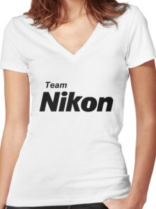 Team Nikon! Women's Fitted V-Neck T-Shirt