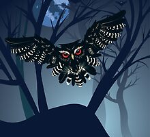 Owl in the Night Forest 5 by AnnArtshock