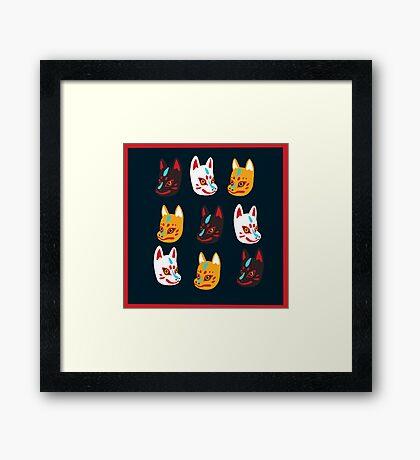 Kitsune Japanese Fox Masks Framed Print