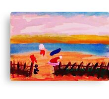 Santa's taking time to surf in San Diego, watercolor Canvas Print