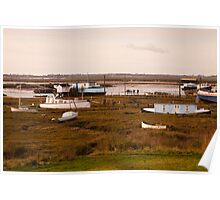 Houseboats at West Mersea, Essex Poster