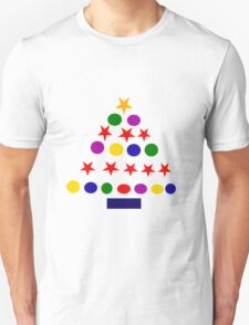 Cool Fun Colorful Stars and Bals Christmas Tree Art Unisex T-Shirt