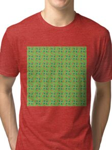 Floral pattern, green background Tri-blend T-Shirt