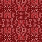 Burgundy + Red Russian Patterns by Mariya Olshevska