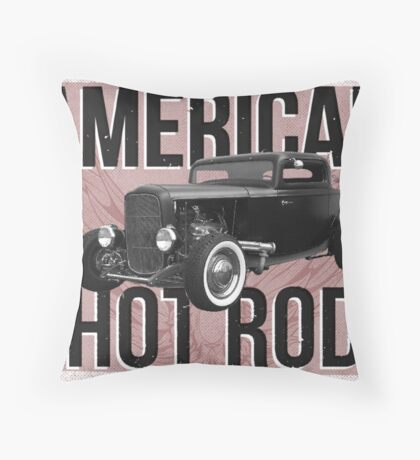 American Hot Rod - red version Throw Pillow