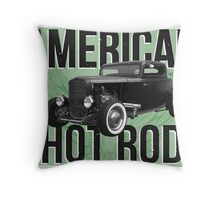 American Hot Rod - green version Throw Pillow