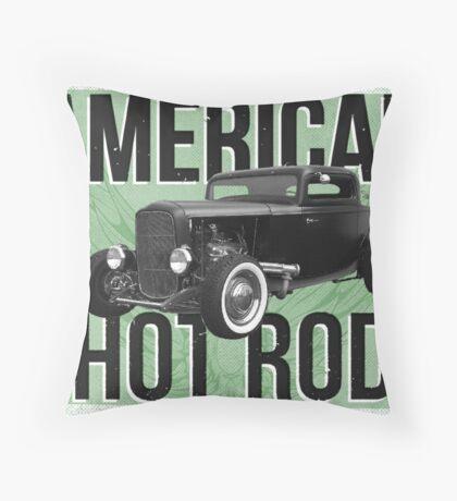 American Hot Rod - green version Throw Pillow