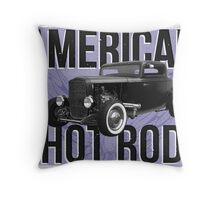 American Hot Rod - blue version Throw Pillow