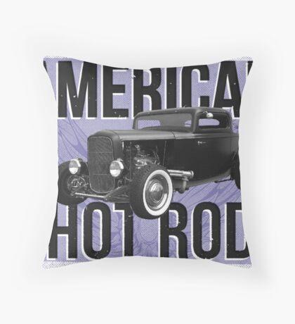 American Hot Rod - blue version Throw Pillow