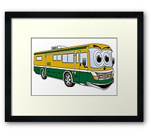 Green and Gold Cartoon Camper Bus Framed Print