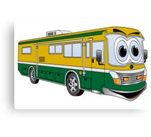 Green and Gold Cartoon Camper Bus Canvas Print