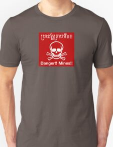 Danger Mines Sign, Cambodia T-Shirt