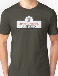 Anfield District, Liverpool Road Sign, UK T-Shirt