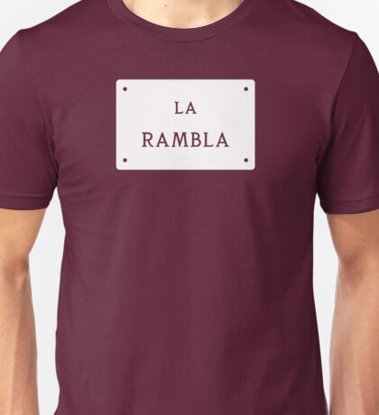 La Rambla, Barcelona Street Sign, Spain - Contrast Version Unisex T-Shirt