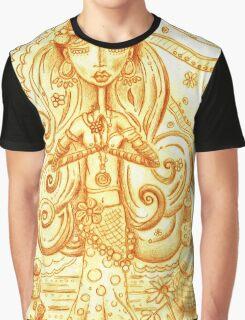 Orange Yoga Gypsy Sketch – Whimsical Folk Art Girl in Namaste Pose Graphic T-Shirt
