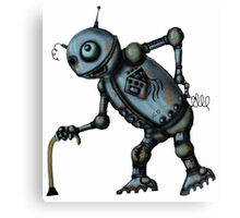 Funny Old Robot cartoon drawing art Canvas Print