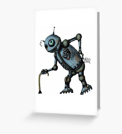 Funny Old Robot cartoon drawing art Greeting Card