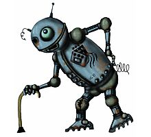 Funny Old Robot cartoon drawing art Photographic Print