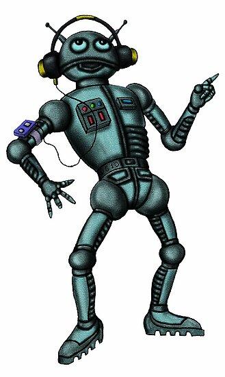 Funny Music Robot cartoon drawing art  by Vitaliy Gonikman