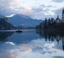 Dusk over Lake Bled by Ian Middleton