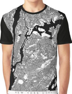 New York City Black and White Map - NYC Graphic T-Shirt