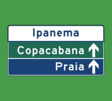 Ipanema/Copacabana/Beach, Traffic Sign, Brazil  Kids Tee