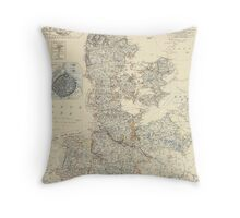 Vintage Map of Denmark (1861) Throw Pillow