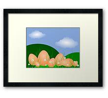 Easter Egg Landscape, blue sky and clouds Framed Print