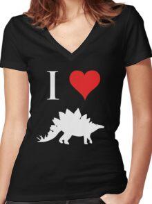I Love Dinosaurs - Stegosaurus (white design) Women's Fitted V-Neck T-Shirt