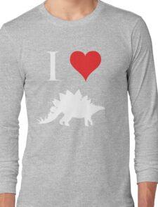 I Love Dinosaurs - Stegosaurus (white design) Long Sleeve T-Shirt
