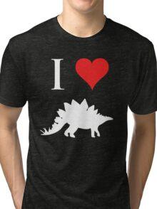 I Love Dinosaurs - Stegosaurus (white design) Tri-blend T-Shirt