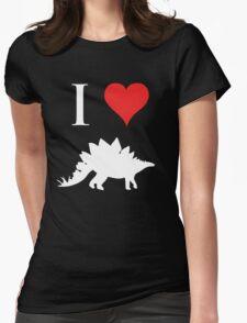 I Love Dinosaurs - Stegosaurus (white design) Womens Fitted T-Shirt