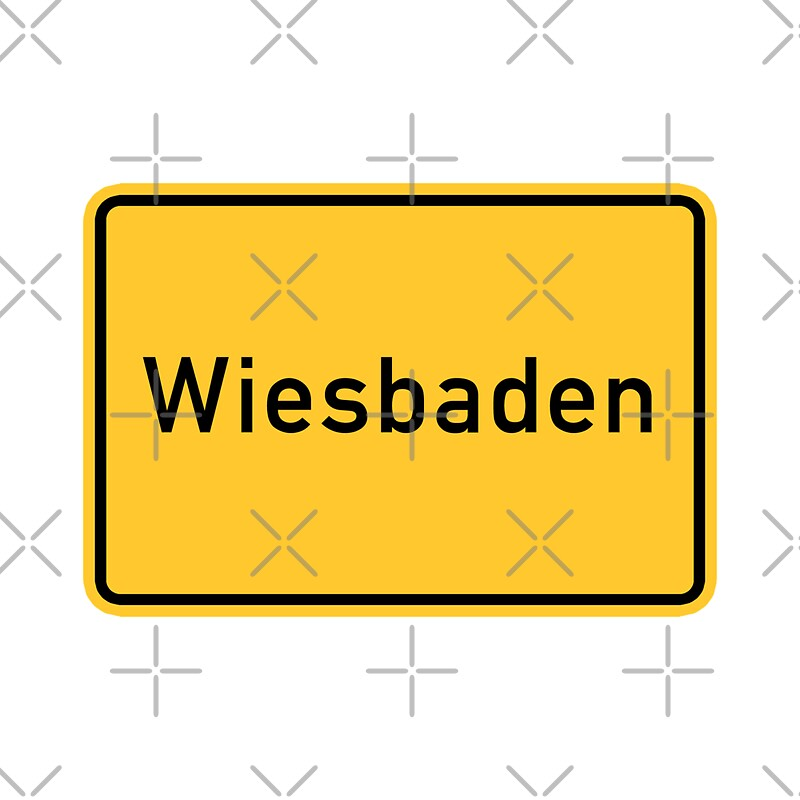 wiesbaden road sign germany stickers by worldofsigns redbubble. Black Bedroom Furniture Sets. Home Design Ideas