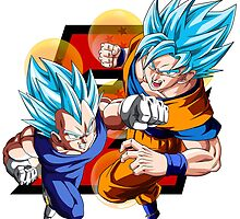 Dragon Ball Z - Vegeta & Goku SSJ God II by J. Danion