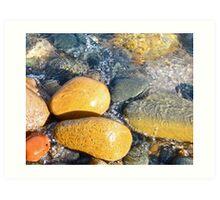 Yellow Rocks on Shoreline Art Print